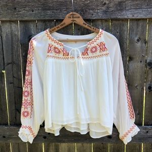 Bohemian White Embroidered Peasant Top